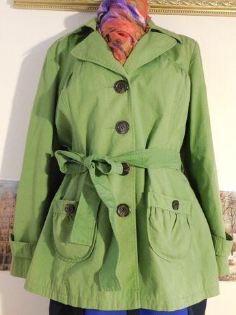 Płaszcz NEXT pistacja 46 klasyczny trencz stan idealny nie sprany