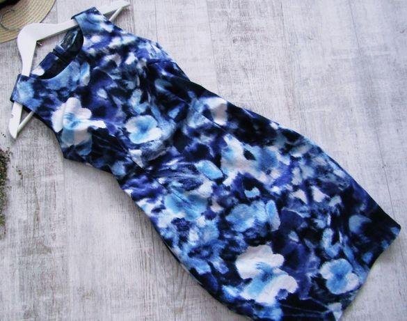 ET VOUS śliczna ołówkowa sukienka mgliste kwiaty 98% bawełna 38/M