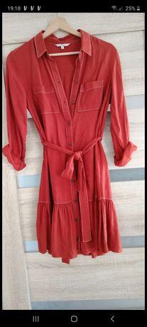 Sukienka czerwna c&a falbana falbanka