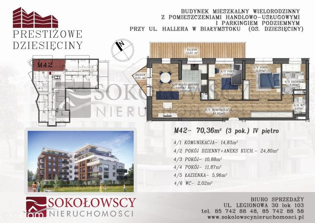 Apartament 70,36 m2, 2 balkony, 2 łazienki, IV p