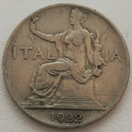 Italia 1 lira lir Włochy Italia BVONO DA L.1 Król Wiktor Emanuel 1922