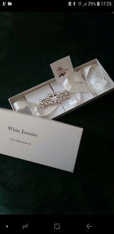 Opaska slubna/pas slubny White Jasmine z Krysztalkow Swarovski
