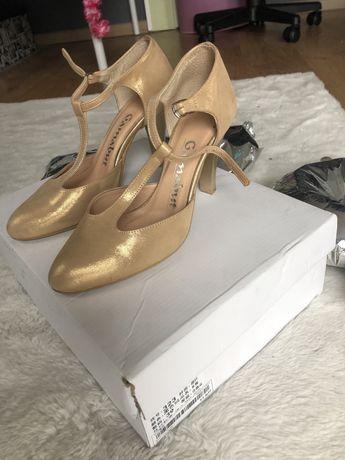 Buty szpilki obcasy złote