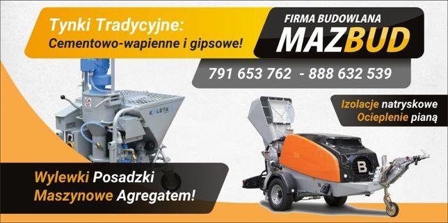 Wylewki Maszynowe, Tynki cementowe i gipsowe - MazBud