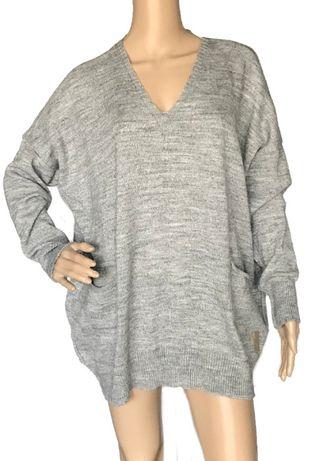 Sweter szary oversize cienki luźny