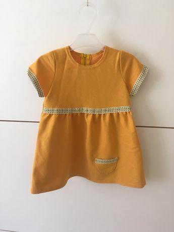 Nowa sukienka musztardowa na krótki rękaw 74