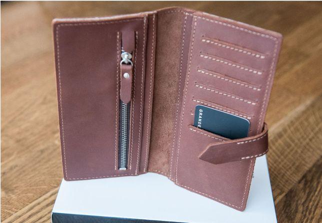вертикальне портмоне , кошелек унисекс из натуральной кожи