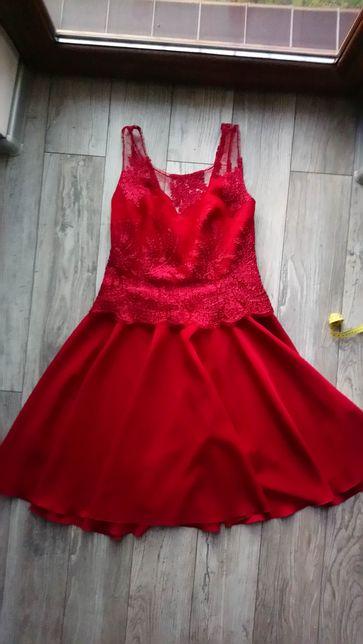 Sukienka wieczorowa , balowa , na bal , czerwona z koronką , szyta