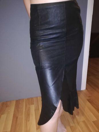 Spódnica spódniczka skóra długa czarna rozmiar 34 bdb.