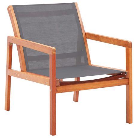vidaXL Cadeira lounge de jardim eucalipto maciço e textilene cinzento 48697