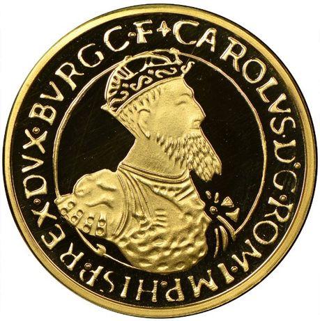 Moeda ouro Belgica 50 ECU, 1987, 30ª Anniversario - Tratado de Roma