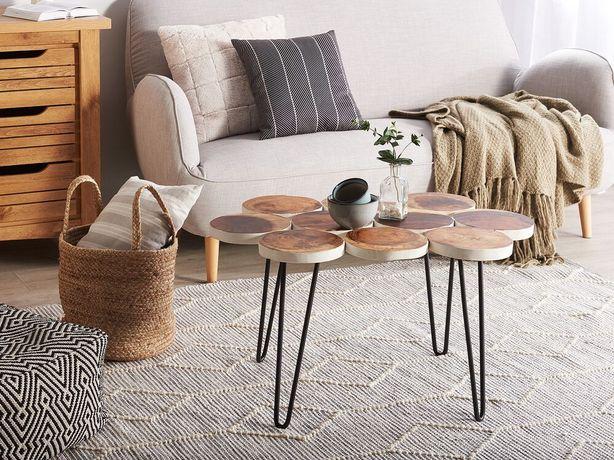 Mesa de apoio em madeira e branco TIJUANA - Beliani