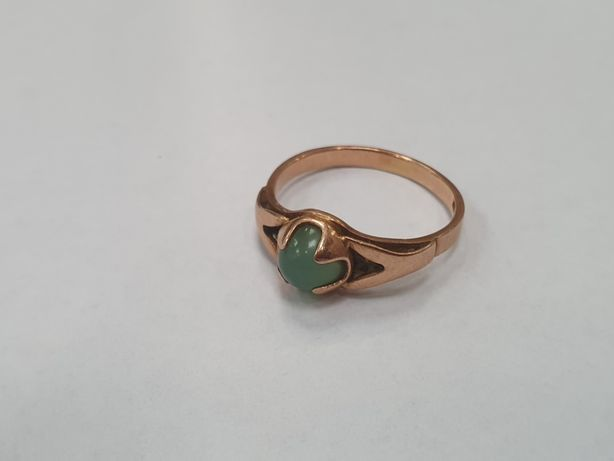 Piękny złoty pierścionek/ Radzieckie 583/ 2.75 gr/ Zielone oczko