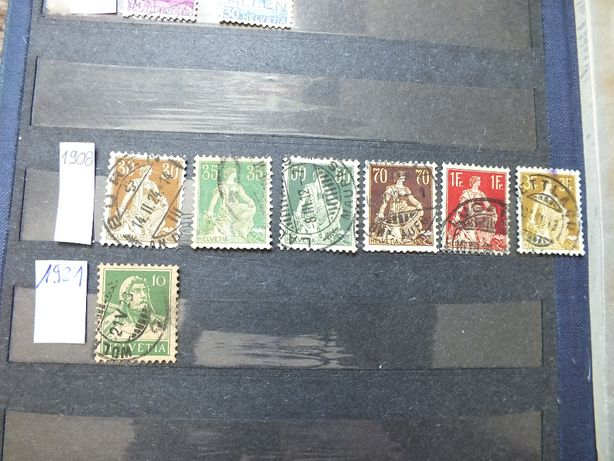 zestaw 7szt.stare znaczki 1908/1921r., Szwajcaria Helvetia kasowane