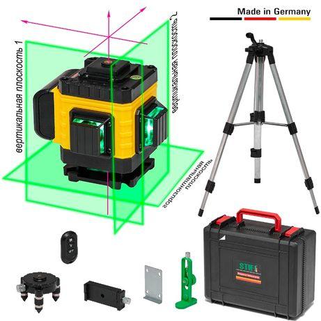 3D x 360° Лазерный уровень + Штатив. STIF Germany 12 линий Зеленый