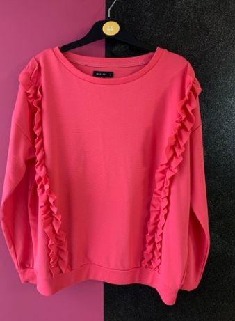 Różowy hibiskus- bluza z falbankami 36/38