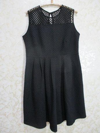Нарядное чёрное платье из фактурной ткани/сетка/52 р/батал