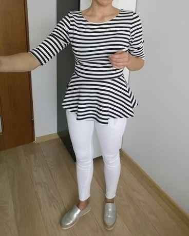 Zara paski czarno białe bluzka z baskinka XS S