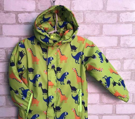 """Демисезонная детская теплая куртка для мальчика """"Динозавры"""" 5-9 лет!"""