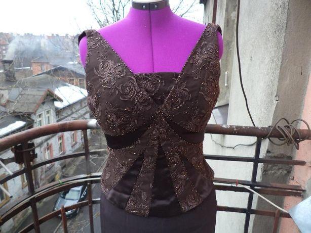 Brązowa suknia MONTAGE BALOWA Z TRENEM 8 38 M