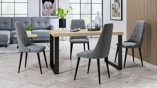 Stół rozkładany,fornir dębowy, metalowe nogi