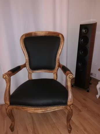 Fotel tronowy tron krzesło ludwik ludwikowski filip antyk skóra włoska