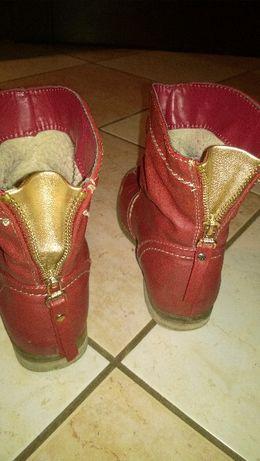 Buty kozaki dziewczęce czerwone zapinane ocieplane rozmiar 33