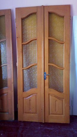 Двері вхідні входние дерев'яні деревянние подвійні 2.35*1.10