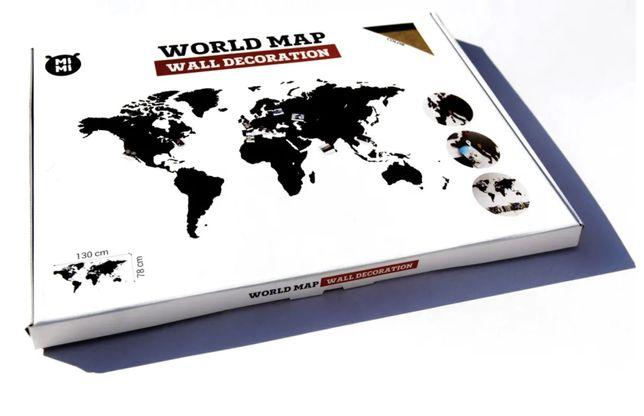 Mapa świata na ścianę drewno drewniana 90x54cm super jakość