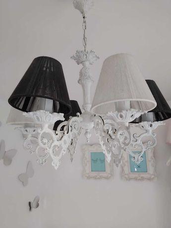 Lampa żyrandol vintage abażury 3 x czerwone, 3 x neonowy róż zestaw