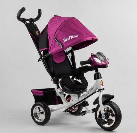 Велосипед трёхколёсный 6588 Музыкальная Фара на руле, дитячий ровер