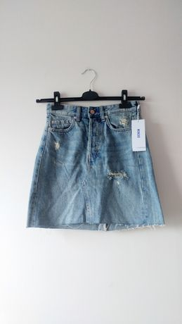 H&M Nowa jeansowa spódnica trapezowa poszarpana wysoki stan