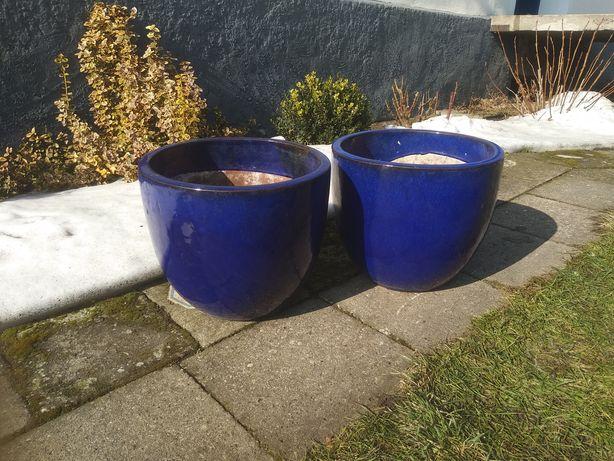 Donice ceramiczne glazurowane niebieskie