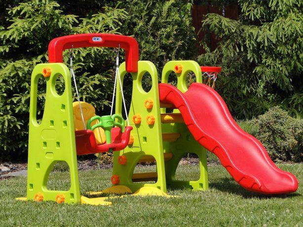Ogrodowy Plac Zabaw 3w1 - zjeżdżalnia - huśtawka - kosz - piłka