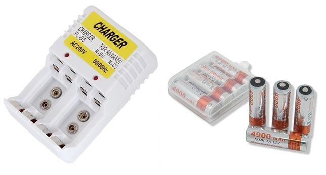 Ładowarka + 4 akumulatorki AAA małe paluszki 2500m