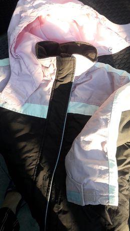 Kurtka H&M 128 sportowa narciarska różowa z brązowym