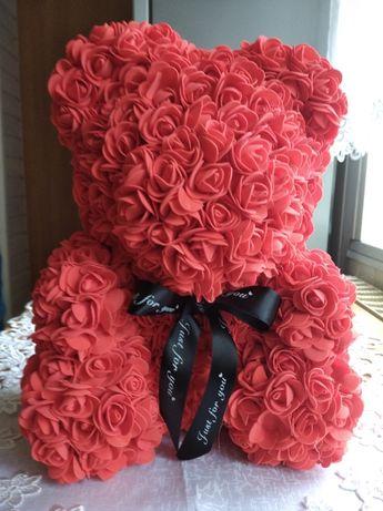 Czerwony MIŚ Z RÓŻ rose bear na prezent walentynki 35 cm