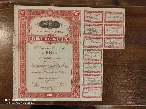 Obligacja na 100 zł 6% pożyczki narodowej