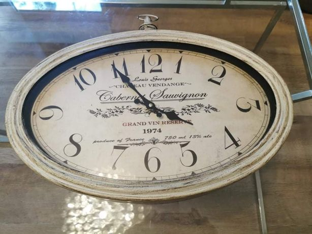 Duży zegar 50 /32 cm boho skandynawski vintage
