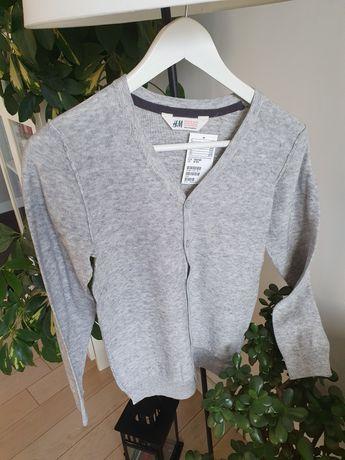 H&M szary cienki sweterek NOWY r. 134/140