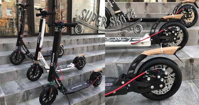 Двухколесный самокат городской с ручным тормозом для подростков