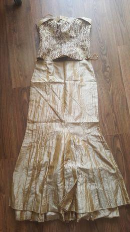 Elegancka suknia złoto brązowa r.38 studniówka, wesele, sylwester