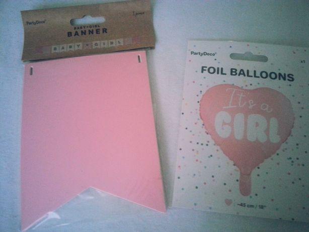 Balon i girlanda It's a girl z okazji narodzin dziewczynki