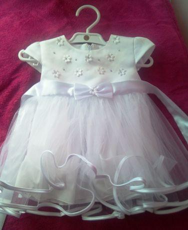 Śnieżnobiała, śliczna sukienka na chrzest,wesele