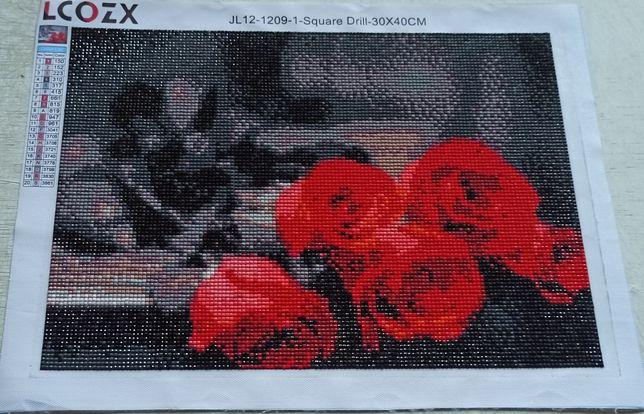 Готовая картина. Алмазная мозаика. Букет роз