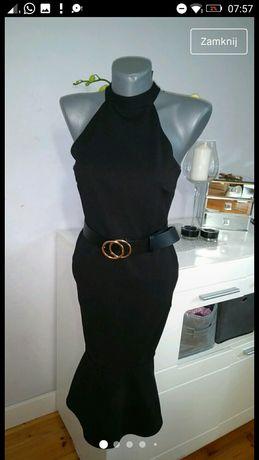 Sukienka długa maxi dopasowana ołówkowa czarna syrenka 38 M