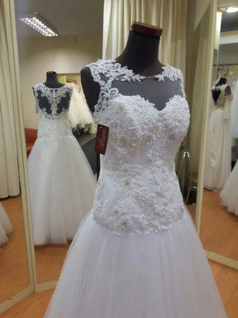 Suknia ślubna biała tiulowa biżuteryjna 36 38 40 WYPRZEDAŻ LUBLIN