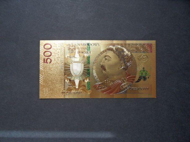 złoty banknot 500 zł pozłacany Sobieski