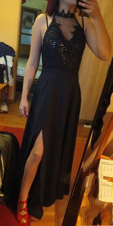 Czarna maxi sukienka cekiny gipiura wesele studniówka koronkowa suknia