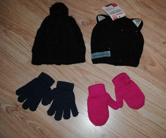 30-> NOWA czapka na polarku cekiny rękawiczki obwód głowy 50-54cm